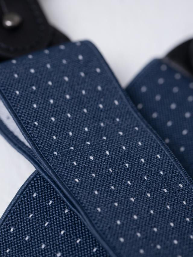 NAVY PIN POINT SUSPENDERS