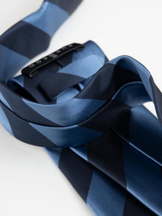 Corbata estampado rayas y logo roja