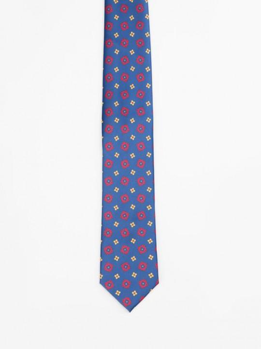 Corbata azul print geométrico
