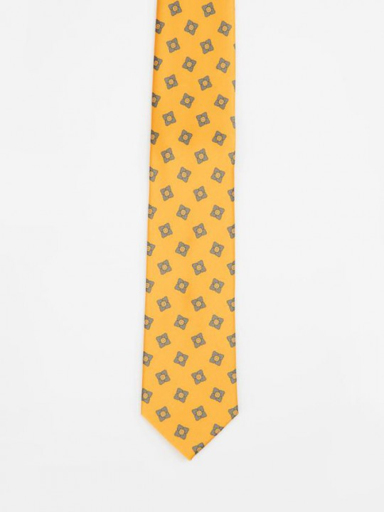 Navy Jacquard-weave Tie with geometric pattern design
