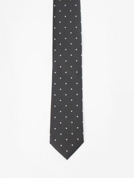 Black Jacquard-weave Tie with polka-dots