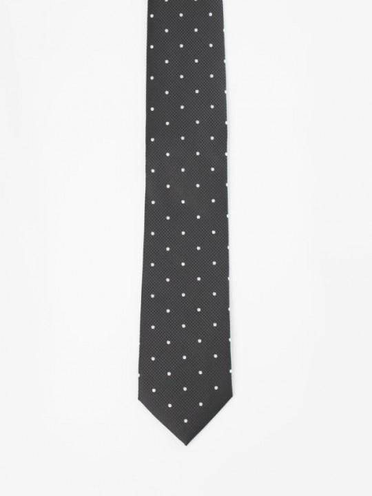 Corbata jacquard negra topos blancos