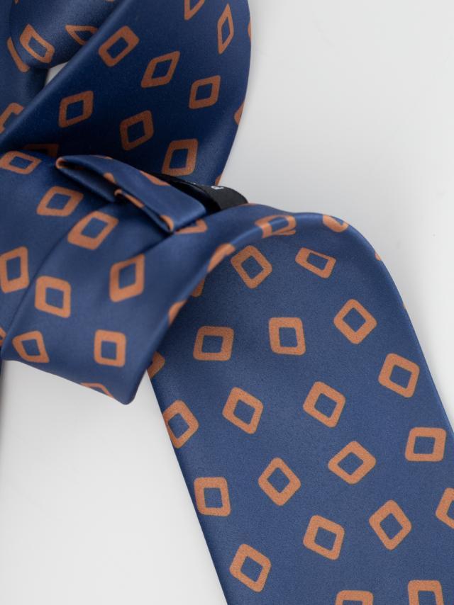 Blue Tie with geometric pattern design