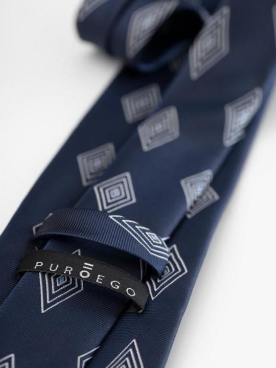 PuroEGO Camisa slim fit estampado geométrico azul