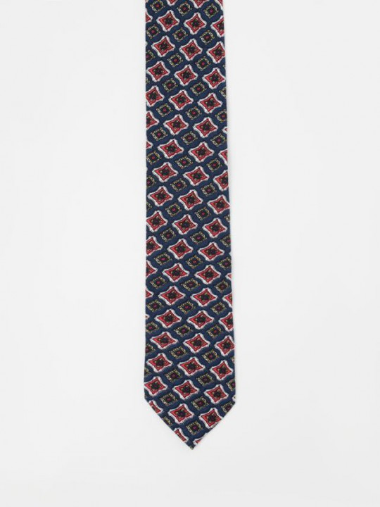 Navy Tie with geometric pattern design