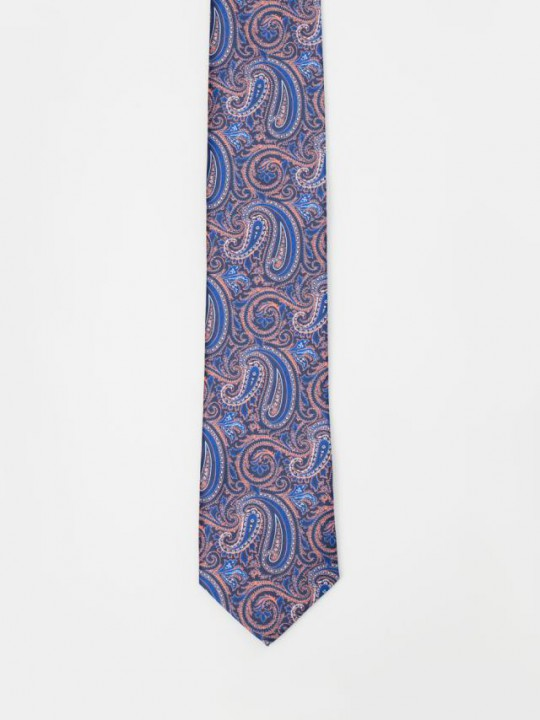 Turquoise Tie with geometric pattern design