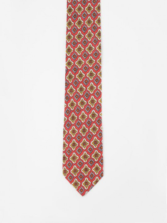 Burgundy Tie with geometric pattern design