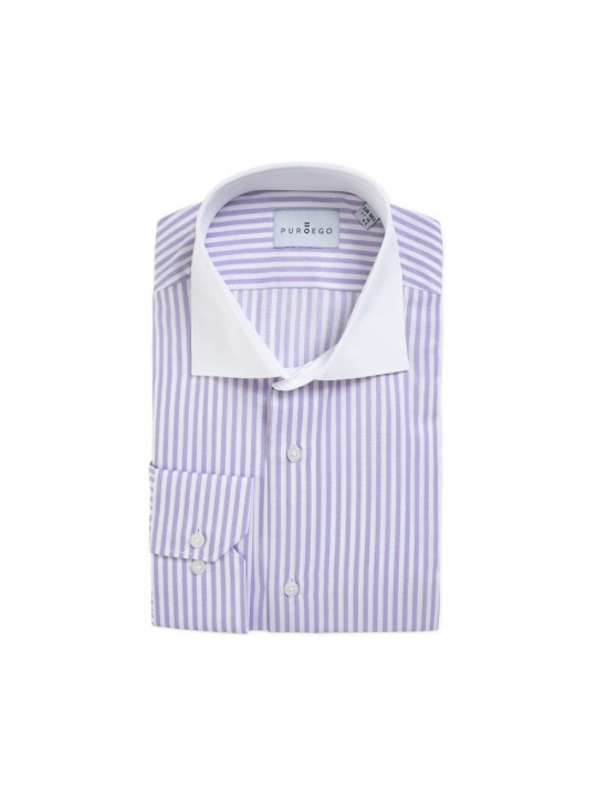 MAUVE STRIPED SHIRT WITH CONTRAST COLLAR
