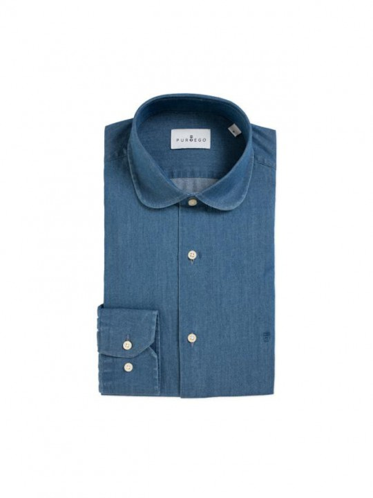 DENIM SHIRT WITH CLUB COLLAR