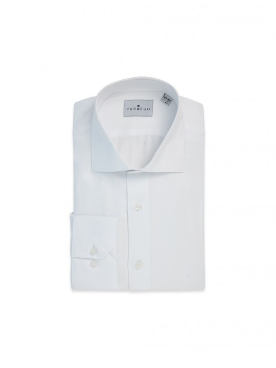 WHITE TWILL BASIC FORMAL SHIRT