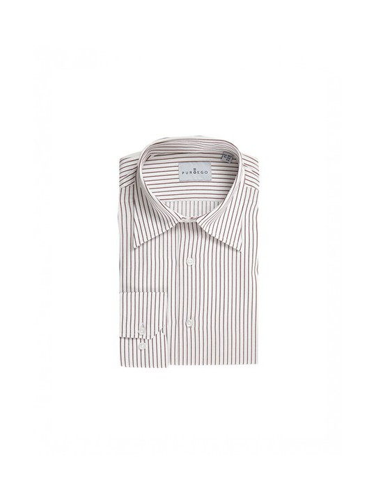 RED STRIPED SHIRT WITH FORWARD-POINT COLLAR