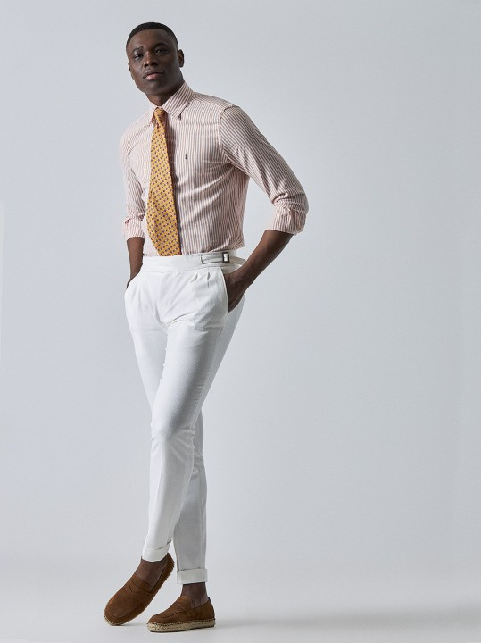 PuroEGO Pantalón chino slim fit blanco