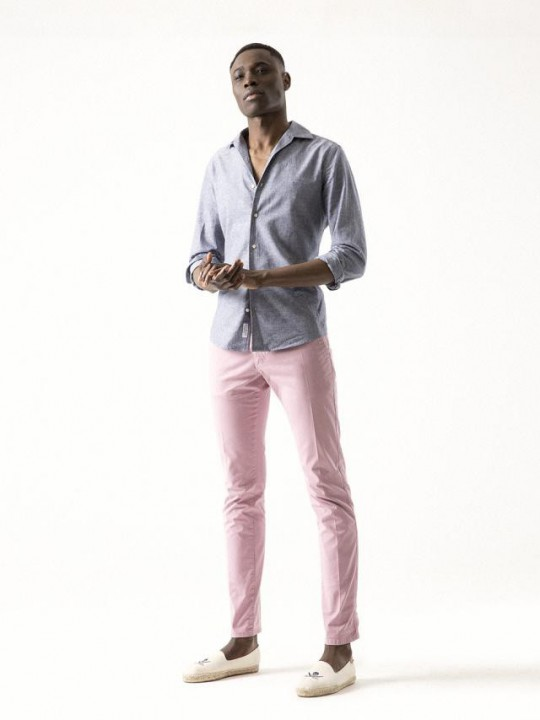 PALE PINK GARMENT-DYED CHINO PANTS