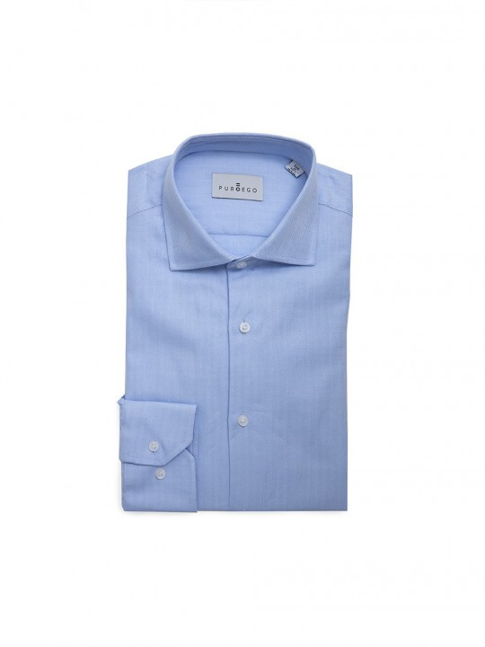 SKY BLUE HERRINGBONE SHIRT