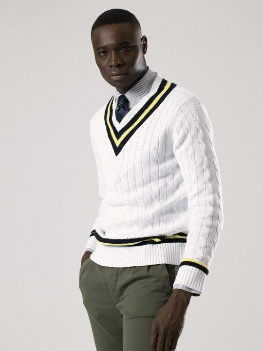 WHITE V-NECK CRICKET SWEATER