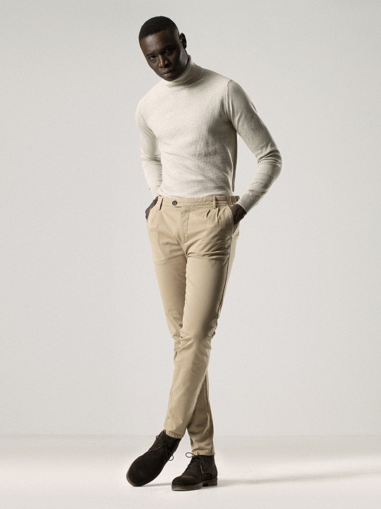RAFFIA DOUBLE-PLEATED CHINO PANTS