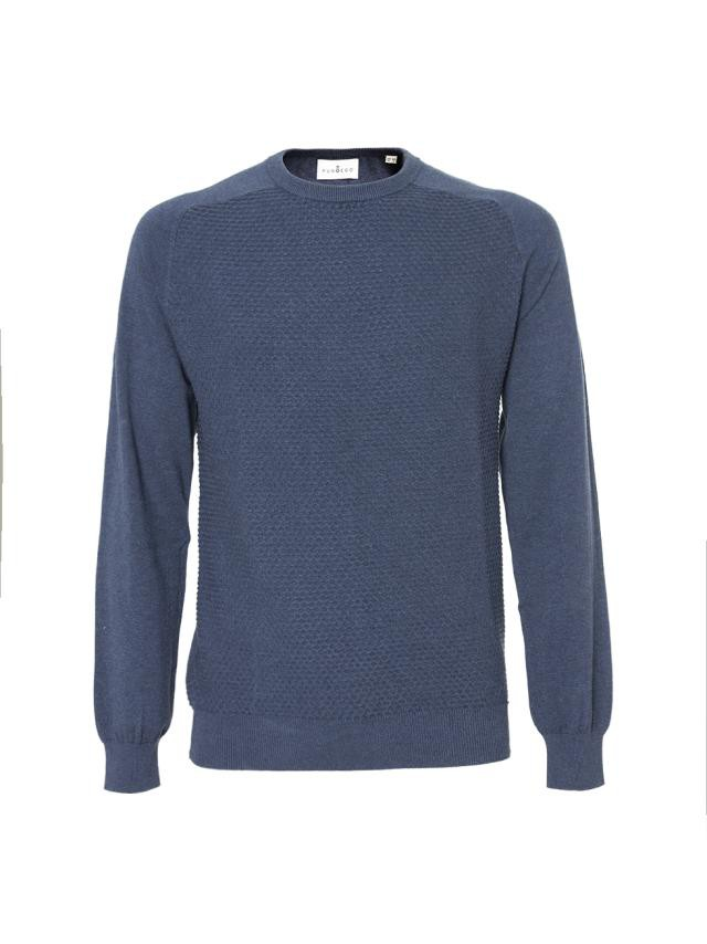INK BLUE STRUCTURED DOBBY-WEAVE SWEATER