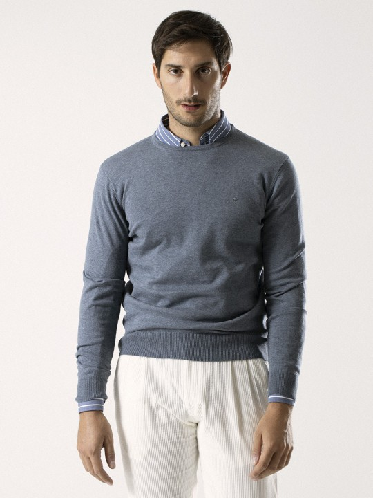 CEMENT BLUE ROUND NECK SWEATER