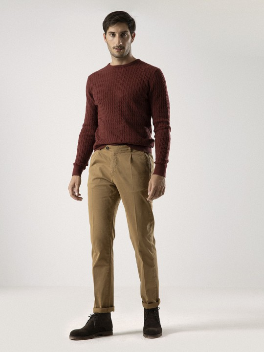 CANDY BROWN SINGLE-PLEATED CHINO PANTS