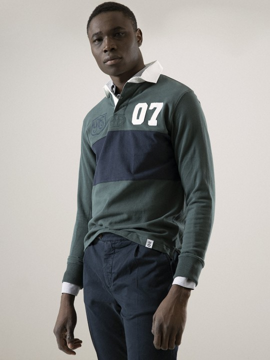 NAVY/GREEN RUGBY POLO