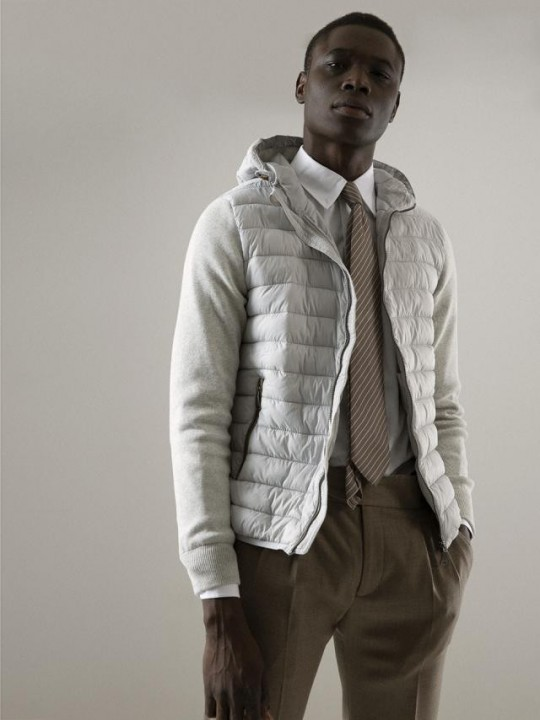 PADDING NYLON JACKET WITH KNIT SLEEVES