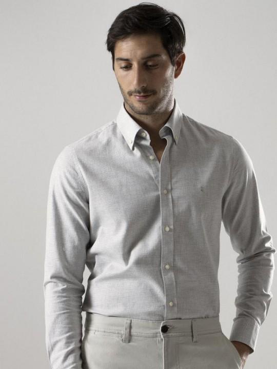 Camisa slim fit estampado azul