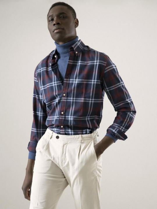 RED POT / NAVY TARTAN SHIRT