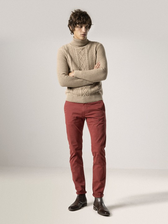POT RED GARMENT-DYED CHINO PANTS