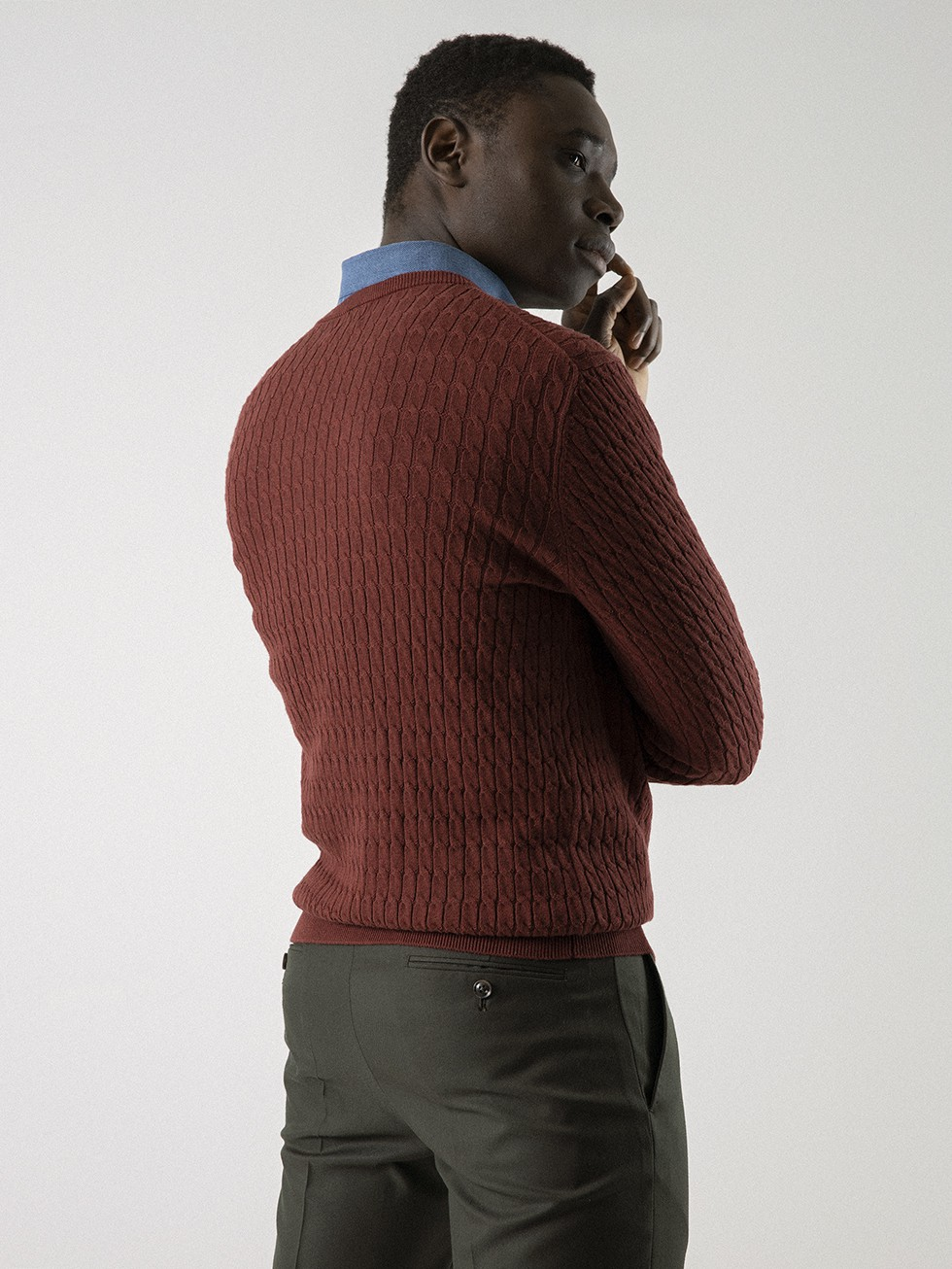POT RED CABLE SWEATER
