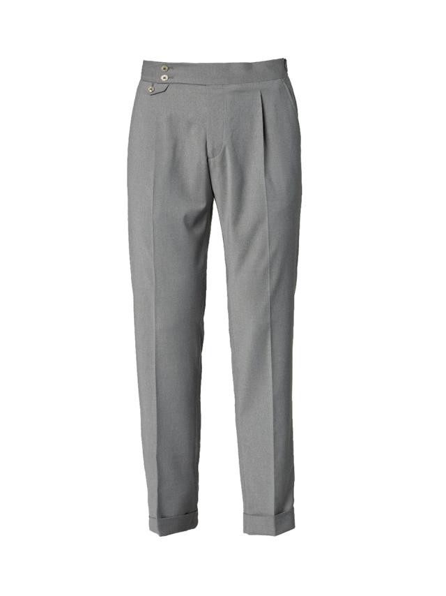 LIGHT GREY HIGH-BAND TROUSERS