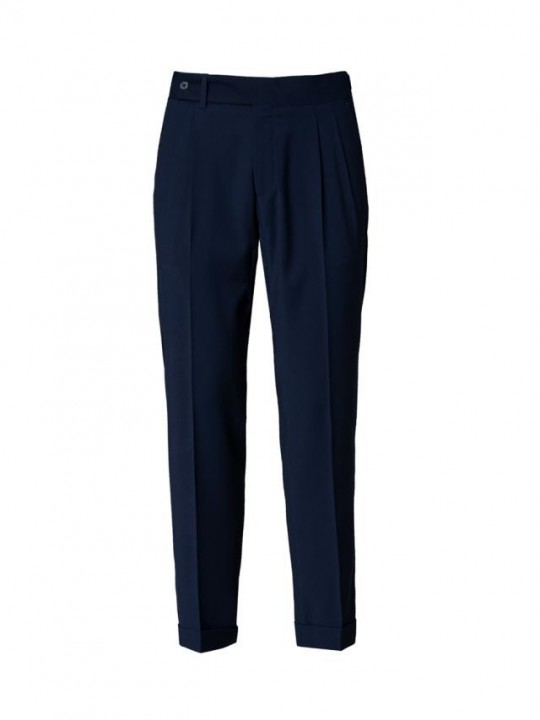 INK BLUE DOUBLE PLEATED TROUSERS