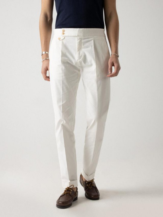 WHITE HIGH-WAISTBAND COTTON TROUSERS