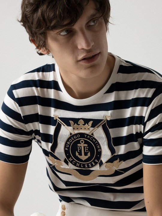 NAUTICAL EMBROIDERED NAVY TEE