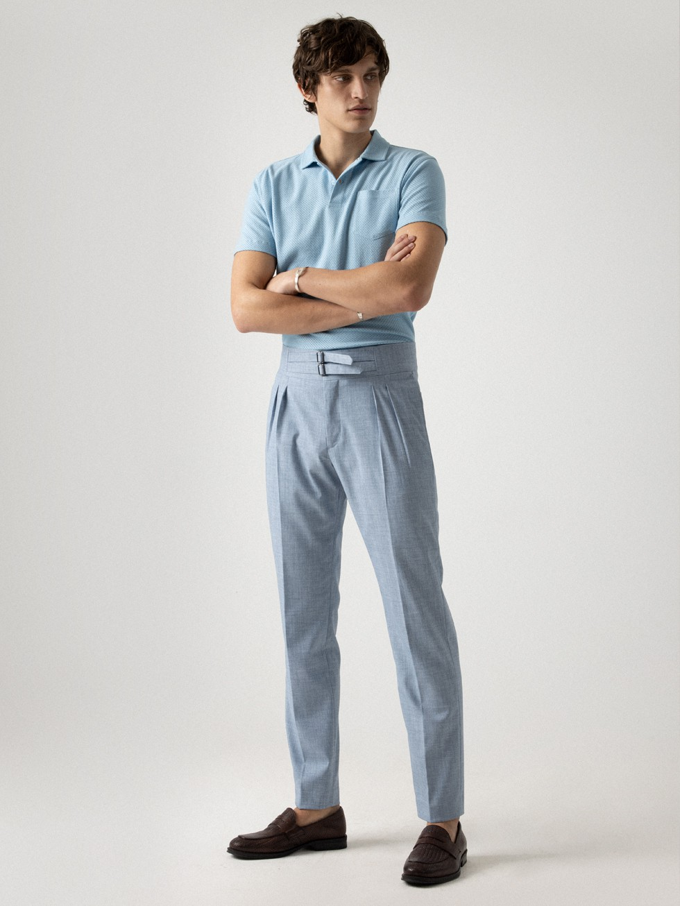 SKY BLUE STRAPS TROUSERS