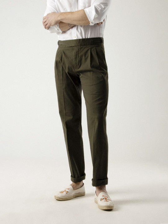 ARMY GREEN GURKHA COTTON TROUSERS
