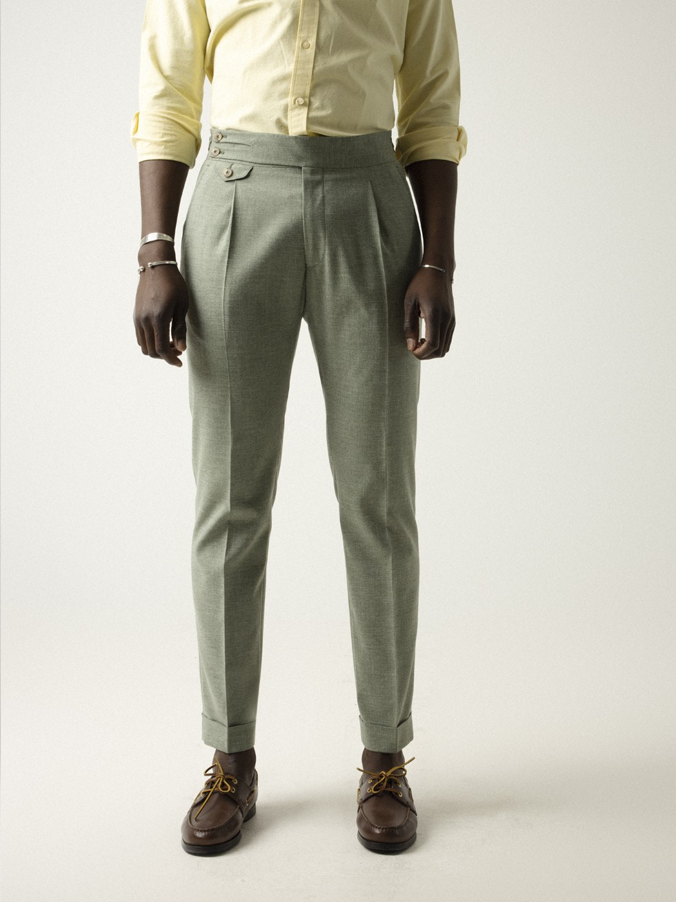 LIGHT GREEN HIGH-BAND TROUSERS