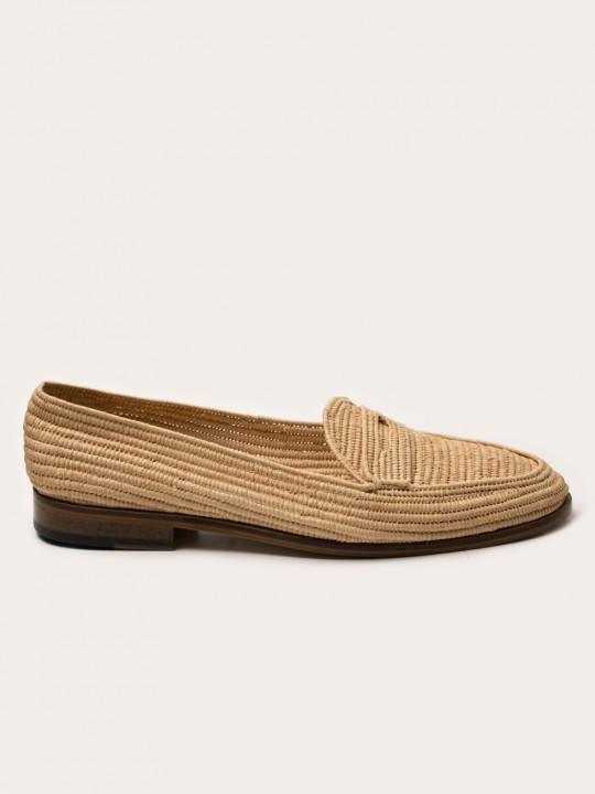 NATURAL RAPHIA PENNY LOAFER