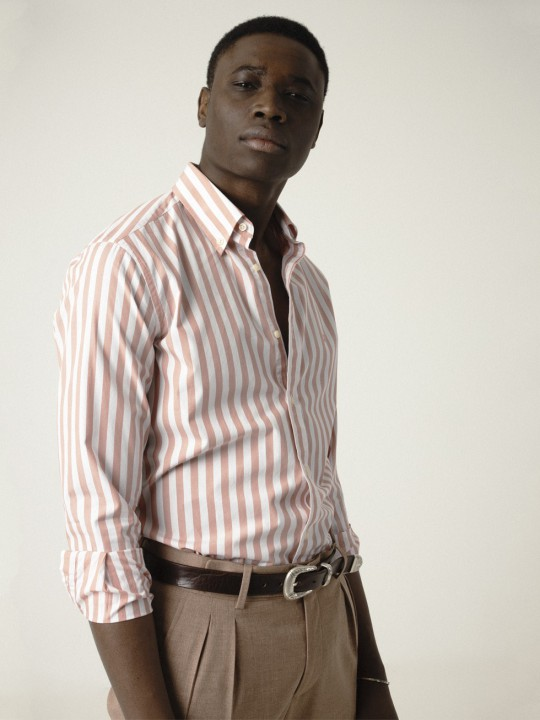 MARSALA STRIPED POPLIN SHIRT