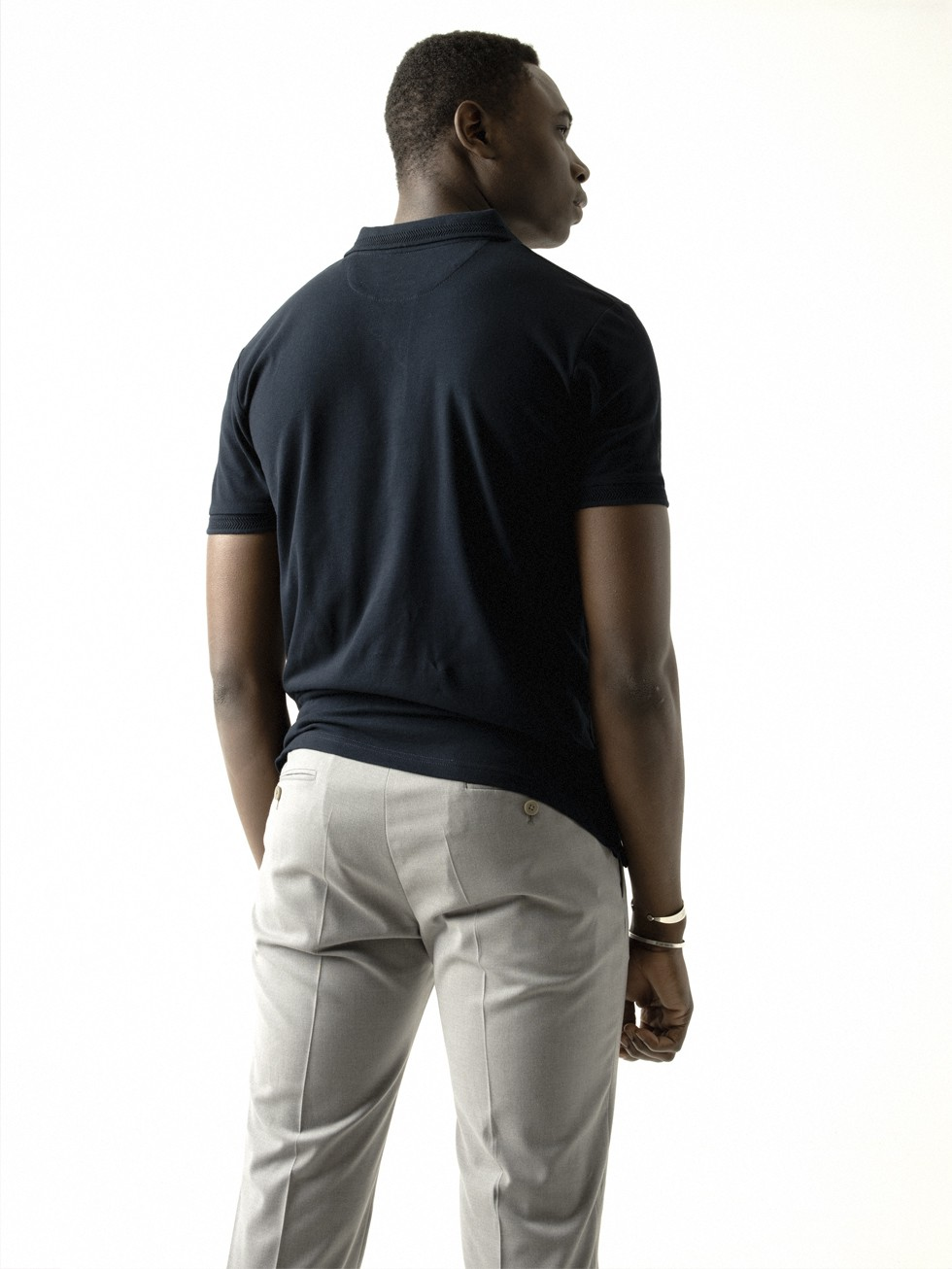 NAVY CONTRASTED POLO