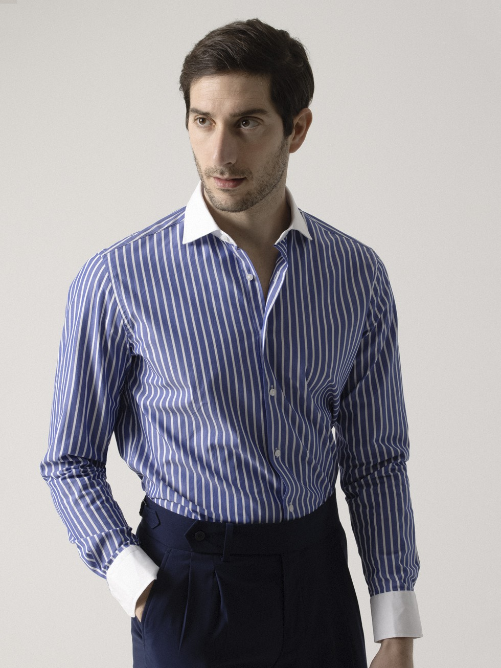 BLUE STRIPED CONTRASTED SHIRT