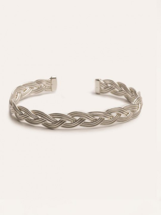 ANTIQUE EFFECT SILVER BRAIDED BRACELET