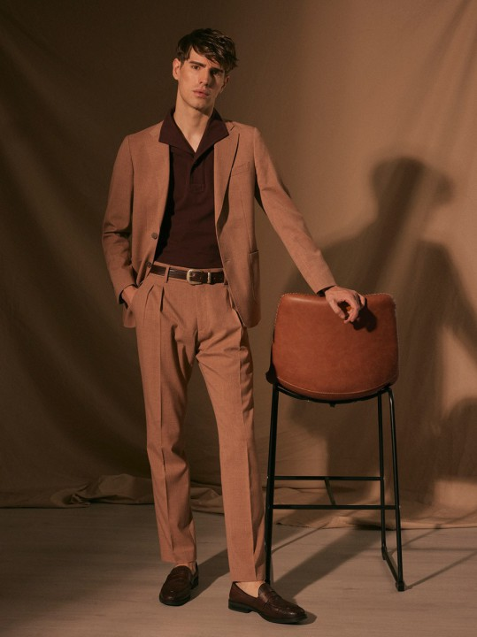 TANGERINE DOUBLE PLEATED TROUSERS