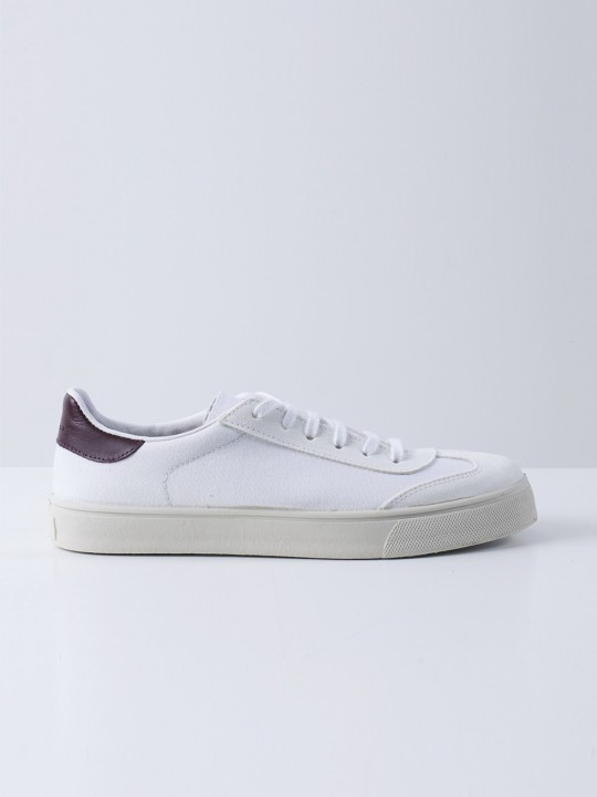 WHITE CANVAS/SUEDE SNEAKERS