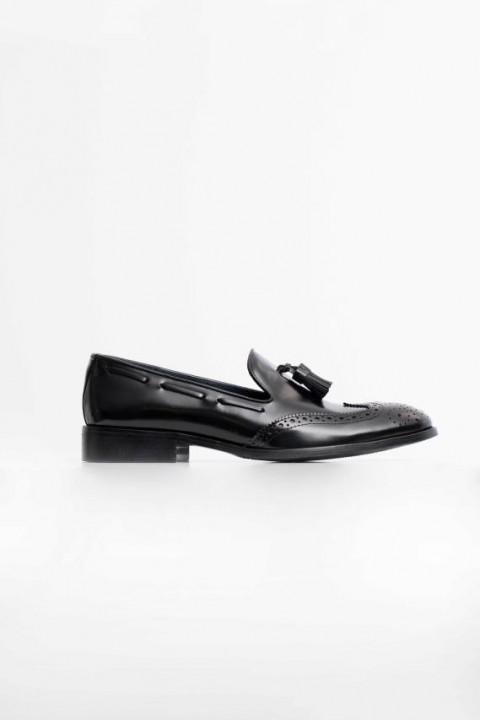 Zapato tassel piel picado borlas negro