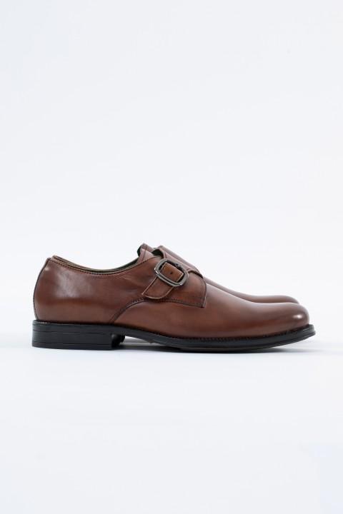 Zapato piel hebilla coñac