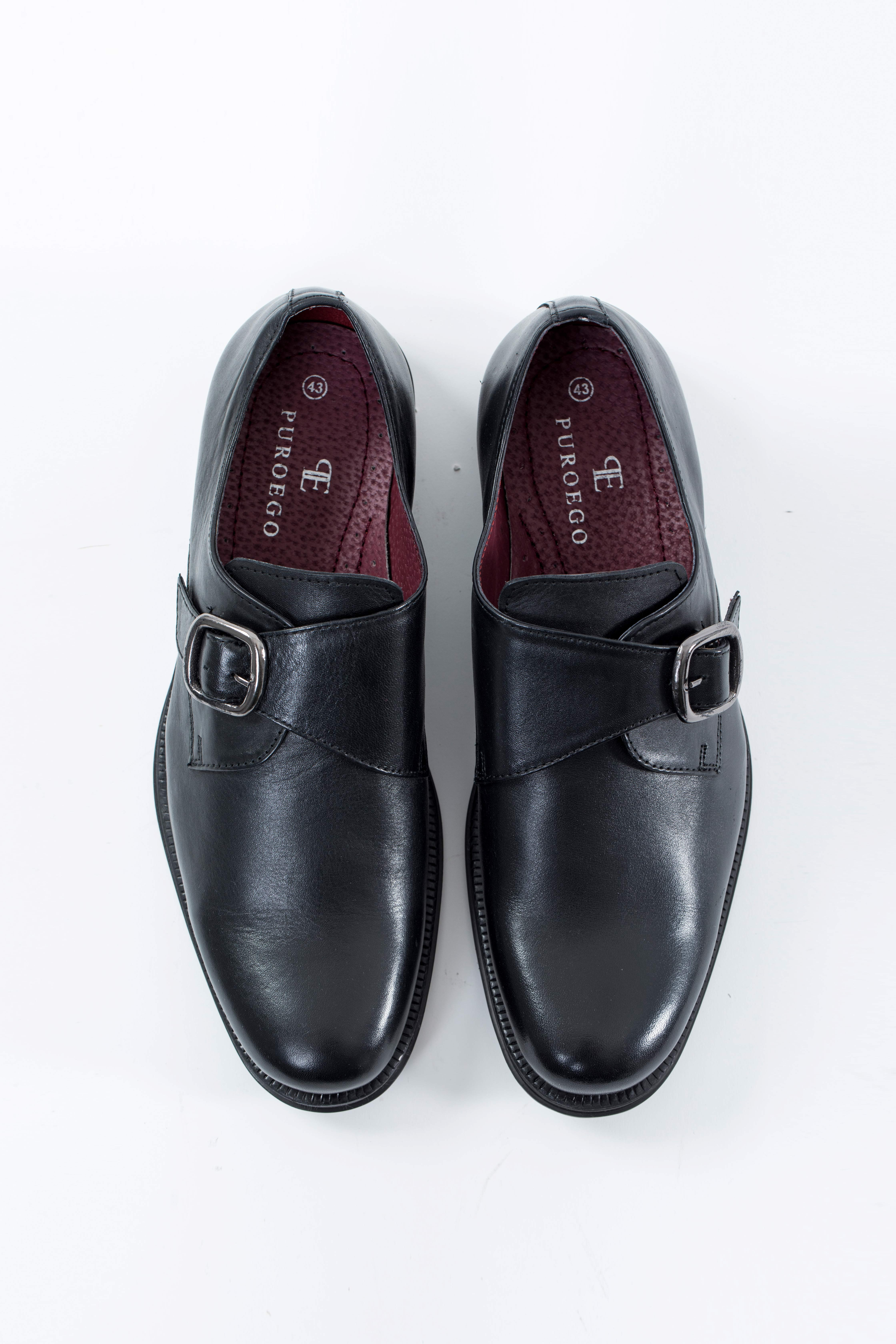 Zapato piel hebilla negro