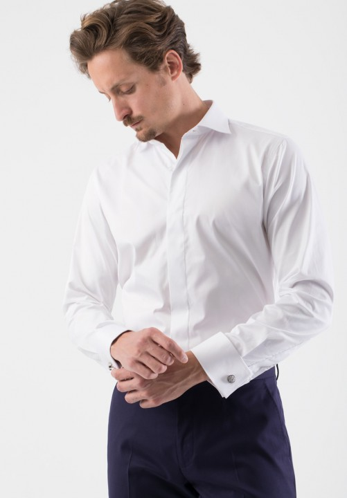 Camisa puño doble blanca