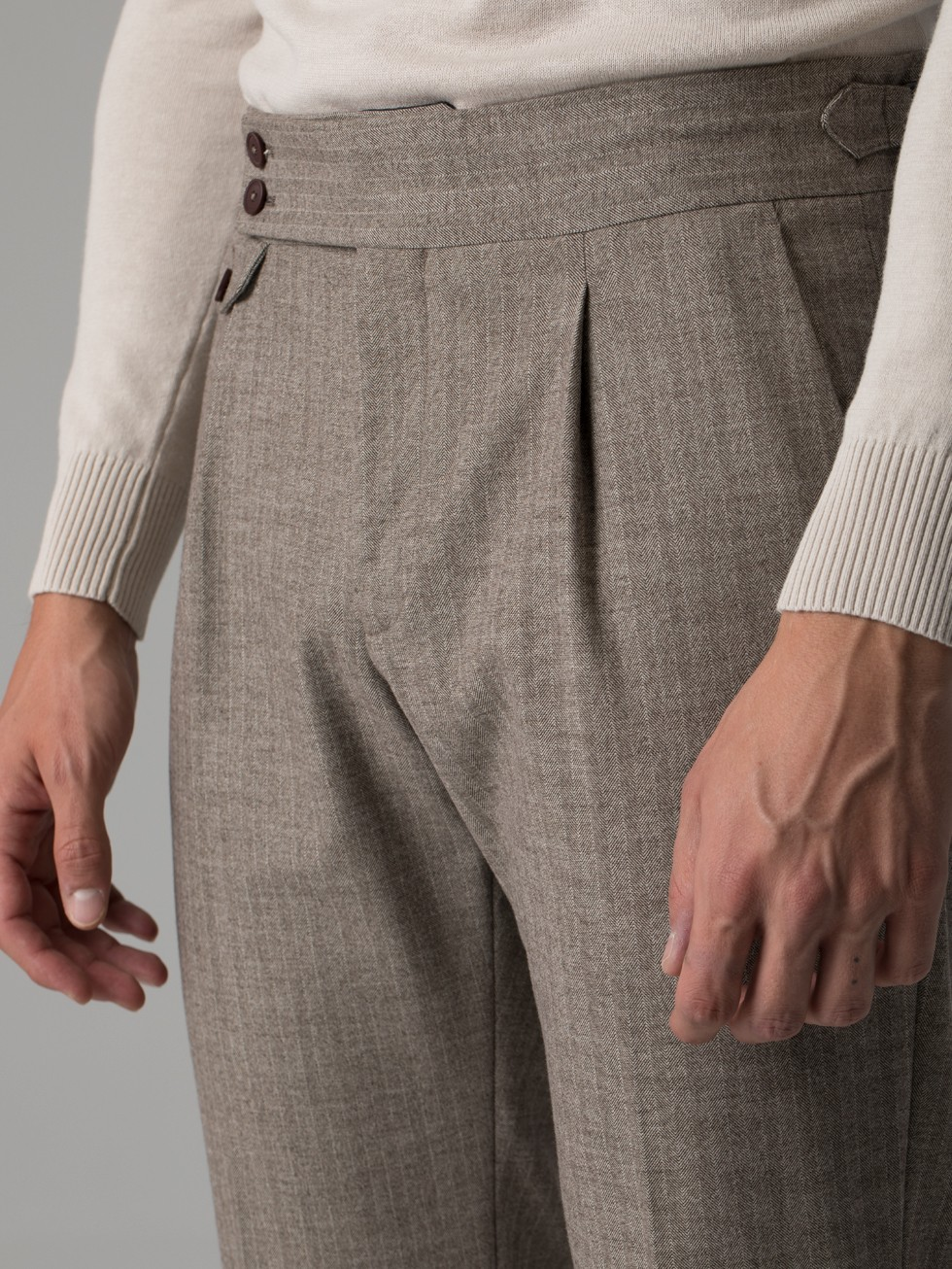 Pantalón tailored espiga tostado