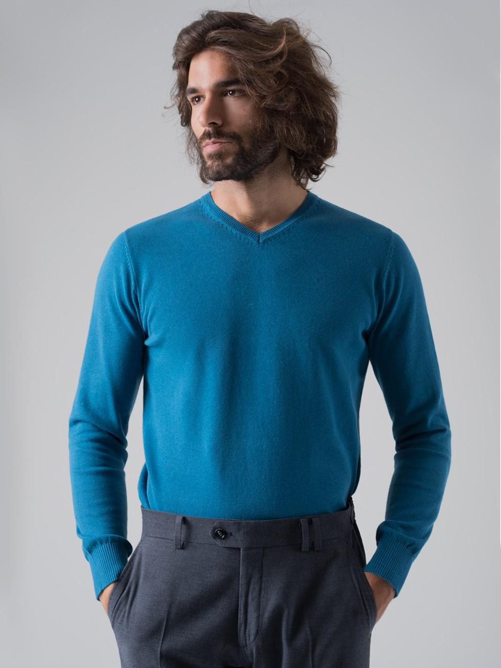 910aec2393766 Jersey hombre cuello pico aguamarino PuroEGO