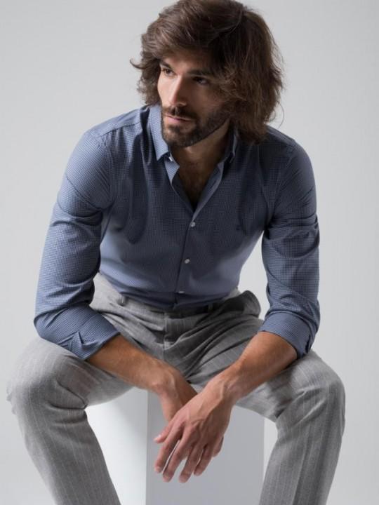 Camisa cuadros azul y blanco